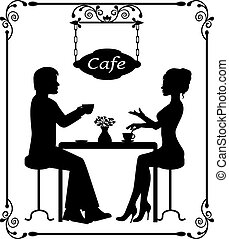 Man and woman sitting in a cafe