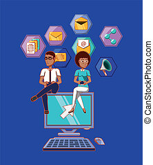 man and woman sitting on computer with social media icons apps