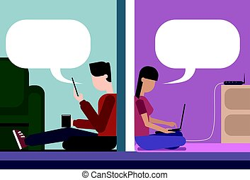 Man And Woman Sitting On Floor At Home Chatting Together Using Cell Smart Phone And Laptop Computer Wireless Wifi Online Connection