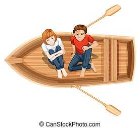 Man and woman sitting on the boat