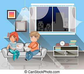 Man and woman sitting on the couch with book.