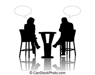 man and woman speaking at the table in a cafe - black...