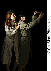 Man and woman spies - Man and woman secret agent spies with ...