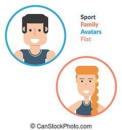 Man and woman - Sport Family Flat Avatars