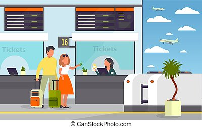 Man and woman standing in the airport at ticket counter. Passenger with baggage. Idea of tourism and transportation. Isolated flat vector illustration