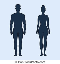 Man and woman standing vector silhouettes on the cyan...