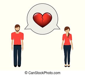 man and woman talk about separation broken heart