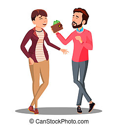 Man And Woman Talking About Family Budget With Money Vector. Isolated Illustration