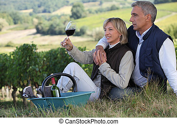 Man and woman tasting wine in a vineyard