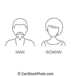 Man and woman thin line icons