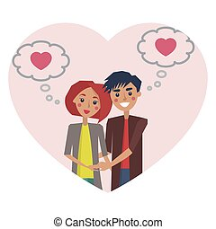 Man and Woman Thinking of Love Vector Illustration