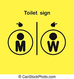 Man and woman toilet sign, restroom symbol. - Man and woman...