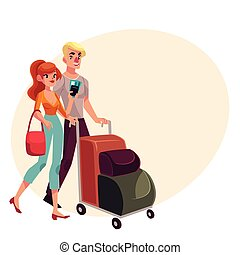 Man and woman travelling together, going on vacation