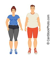 Man and Woman Unhappy Obesity Vector Illustration - Man and...