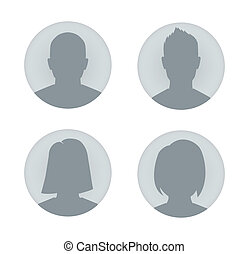 Vector user profile illustrations. Man and woman.