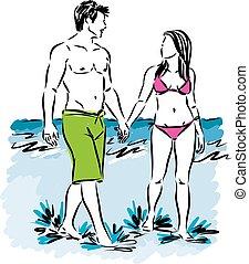 man and woman walking at the beach