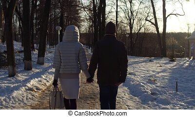 Man and woman walking in winter park holding hands 4K steadicam shot. Back view