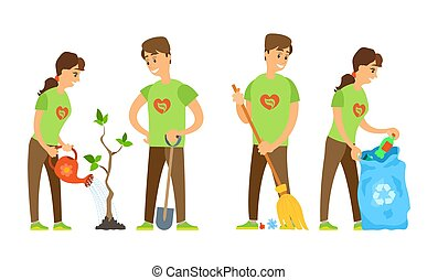 Man and Woman Watering Tree, Sweeping Trash Vector