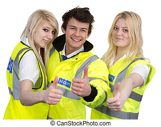 Man And Woman Wearing High-visibility Jacket Showing Thumb Up