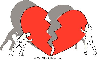 man and woman with big red broken heart vector illustration sketch doodle hand drawn with black lines isolated on white background. crisis relationship concept.
