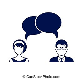 Man and woman with dialog speech bubbles