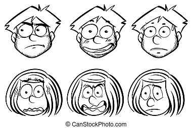 Man and woman with different facial expressions