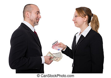 Man and woman with euro and dollar