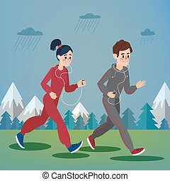 Man and Woman with Headphones Running in the Woods and Mountains under Rain