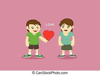 Man and woman with heart shape between them