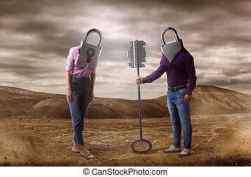 Man and woman with keyholes instead of heads