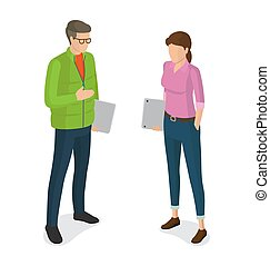 Man and Woman with Laptops Cartoon Characters