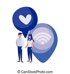 man and woman with location pin and speech bubble with heart icon
