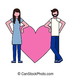 man and woman with love heart