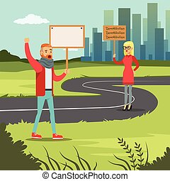 Man and woman with placards claiming their demands on city background, mass protest flat vector illustration