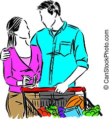 MAN AND WOMAN WITH SHOPPING CART vector illustration