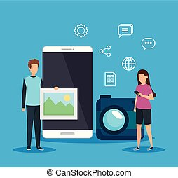 man and woman with social smartphone and camera technology