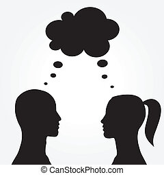 Man and woman with speech bubble. Vector illustration