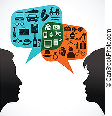 Man and woman with speech bubbles - shopping theme