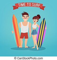 Man and Woman with Surf. Time to Surf. Travel Banner. Tourism Industry. Active People. Vector illustration