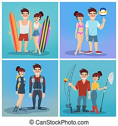 Man and Woman with Surf. Volleyball Man. Man and Woman Divers. Fisherman. Travel Banner. Tourism Industry. Active People. Vector illustration