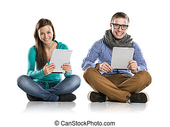 Man and woman with tablet