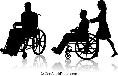 Silhouette of a man in a wheelchair and one with a woman pushing him
