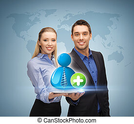 man and woman with with contact icon