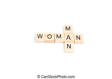 MAN and WOMAN word on square tile concept isolated on white background