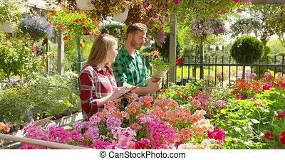 Man and woman working in garden