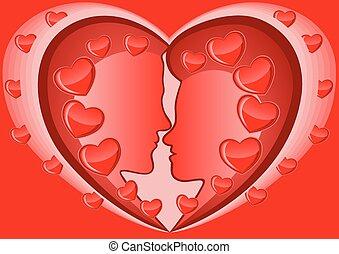 Man and women in heart shape