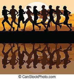 Man and women marathon runners vector background