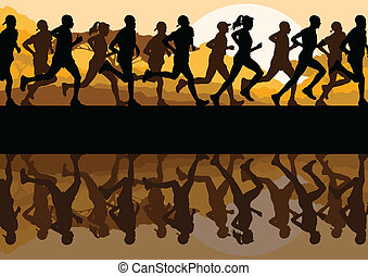 Man and women marathon runners for poster