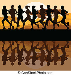 Man and women marathon runners vector background