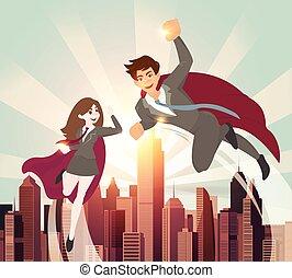 Man and women superhero with sunlight.